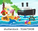 travel illustration   tropical... | Shutterstock . vector #516673438