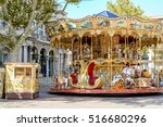 An Old Fashioned Carousel Sits...