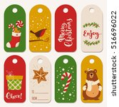 vector holiday christmas labels ... | Shutterstock .eps vector #516696022