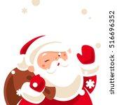 santa winking. cartoon...   Shutterstock .eps vector #516696352