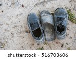 Two Vintage Old Black Shoes An...