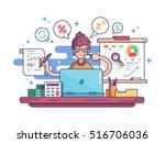 woman financial accountant | Shutterstock .eps vector #516706036