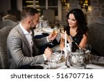 couple with champange glasses... | Shutterstock . vector #516707716