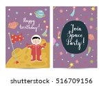 happy birthday cartoon greeting ... | Shutterstock .eps vector #516709156