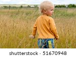 little boy  rural landscape ... | Shutterstock . vector #51670948