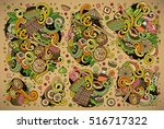 colorful vector hand drawn... | Shutterstock .eps vector #516717322