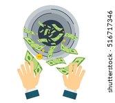 cash flow. banknotes fly away... | Shutterstock .eps vector #516717346