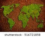 grass in shape of world map  in ... | Shutterstock . vector #516721858