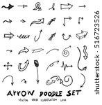 vector hand drawn arrows set | Shutterstock .eps vector #516723526