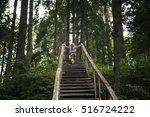 child climbs an old wooden... | Shutterstock . vector #516724222