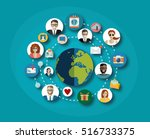 global social network abstract... | Shutterstock .eps vector #516733375
