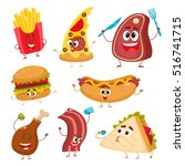 set of funny fast food... | Shutterstock .eps vector #516741715