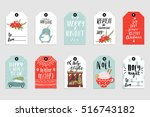 collection of 10 cute merry... | Shutterstock .eps vector #516743182