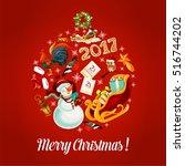 merry christmas greeting poster ... | Shutterstock .eps vector #516744202