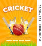 cricket poster event info... | Shutterstock .eps vector #516745792