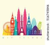 world skyline. travel and... | Shutterstock .eps vector #516745846