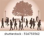 crowd of people walking. | Shutterstock .eps vector #516753562