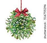 watercolor mistletoe kissing... | Shutterstock . vector #516755296