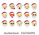 set of holiday emoticons. santa ... | Shutterstock .eps vector #516763492