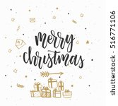 christmas greeting card ... | Shutterstock .eps vector #516771106