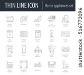 icons set of home appliances.... | Shutterstock .eps vector #516772096