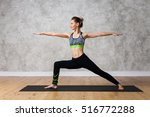 young woman practicing yoga... | Shutterstock . vector #516772288