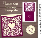 lasercut vector wedding... | Shutterstock .eps vector #516775972