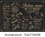 italian menu placemat food... | Shutterstock .eps vector #516776458