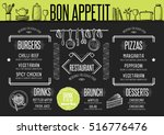 placemat menu restaurant food... | Shutterstock .eps vector #516776476