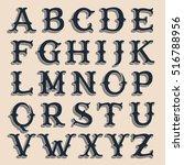 retro alphabet. vintage western ... | Shutterstock .eps vector #516788956