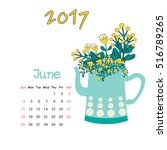 calendar june 2017. vector... | Shutterstock .eps vector #516789265