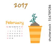 vector calendar for february... | Shutterstock .eps vector #516789286
