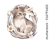 Stock photo cat gray fluffy kitten and flowers watercolor painting 516791602