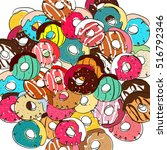 donut vector illustration.donut ... | Shutterstock .eps vector #516792346