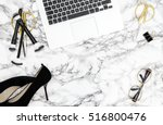 notebook  supplies  feminine... | Shutterstock . vector #516800476