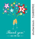 thank you card. glasses with... | Shutterstock . vector #516800902