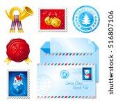merry christmas post icon set.... | Shutterstock .eps vector #516807106