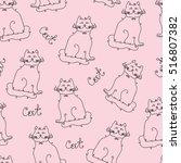 Seamless Pattern Of Cats. Blac...