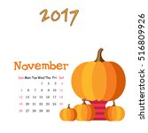 calendar november 2017. vector... | Shutterstock .eps vector #516809926