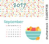 calendar september 2017. vector ... | Shutterstock .eps vector #516809938