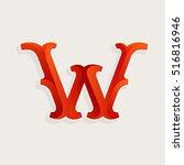 w letter logo in elegant circus ... | Shutterstock .eps vector #516816946