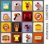 museum icons set. flat... | Shutterstock . vector #516829306