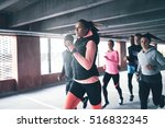 attractive young urban runner... | Shutterstock . vector #516832345