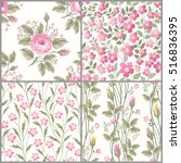 set of seamless floral patterns ... | Shutterstock .eps vector #516836395