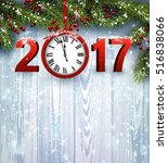 2017 year wooden background... | Shutterstock .eps vector #516838066