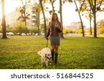 Stock photo attractive woman texting on the phone while walking the dog 516844525
