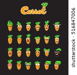 sticker collection of carrots... | Shutterstock .eps vector #516847006