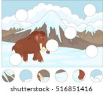 cartoon mammoth on the... | Shutterstock .eps vector #516851416