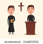 young catholic priest. cartoon... | Shutterstock .eps vector #516853552