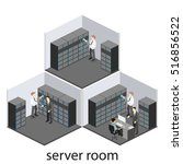 isometric interior of server... | Shutterstock .eps vector #516856522